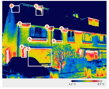 Voorbeeld van een thermografische analyse van een woning