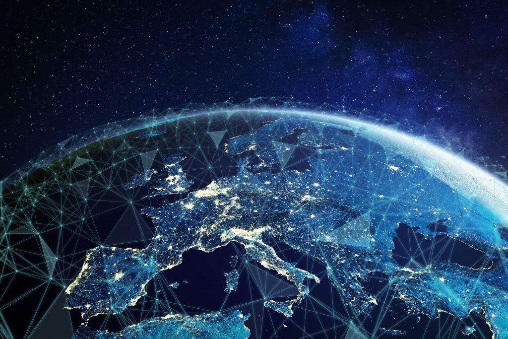 EU landkaart blauw met lichtjes