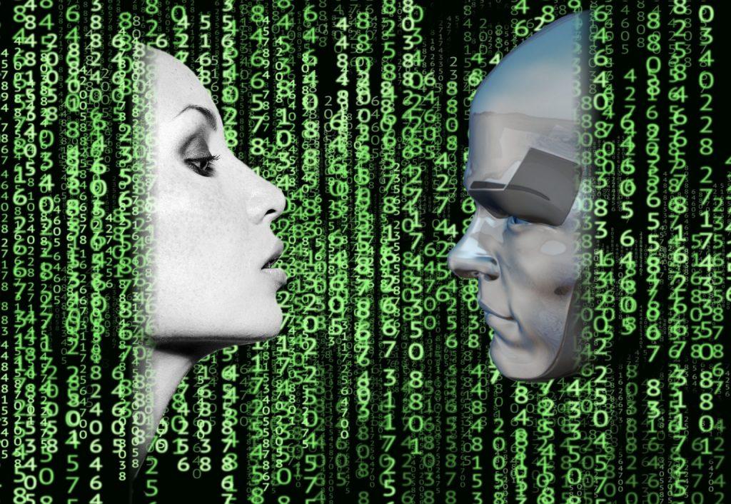 twee gezichten binaire code